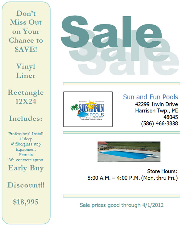 Discount on michigan vinyl liner pools - Cheap inground swimming pool liners ...